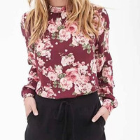 Red Floral Print Long-Sleeve Shirt