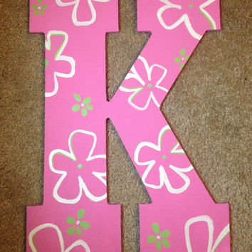 Hand Painted Wooden Letter K // Wall Decoration //