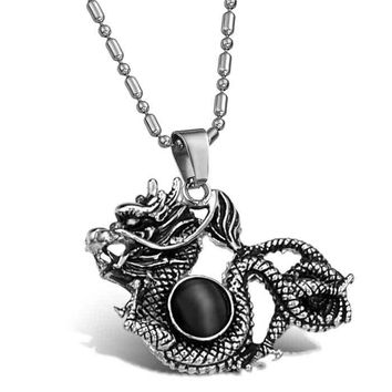 Titanium Steel Descendants Of The Dragon Pearl Necklace For Men