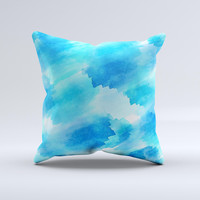 The Abstract Blue Stroked Watercolour ink-Fuzed Decorative Throw Pillow