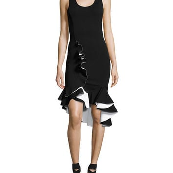Givenchy Fitted Sleeveless Ruffled Dress
