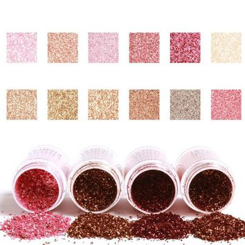 1 pc 12 Colors Glitter Eye Shadow Cosmetic Makeup  Lips Loose Makeup Eyes Pigment Powder