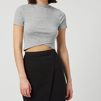 Grey Ribbed Wrap Crop Top