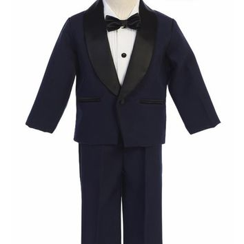 Navy & Black Contrast 4-pc Tuxedo Boys w. Shawl Collar Jacket 12m-12