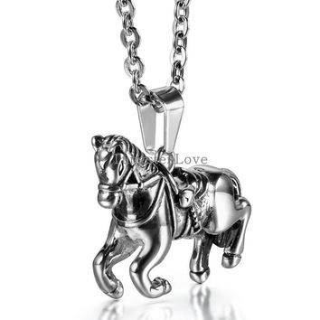 2015 New Fashion 2.7*3.3cm Horse Pendant Necklace 316L Stainless Steel Animal Necklace for Men Women with 55cm Chain collares