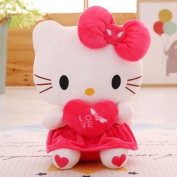 30-60cm New Love Kitten Angel Pink Hello Kitty Plush Toy Red KT Cat Doll Christmas Gift Girl's Birthday Present Cat with Heart