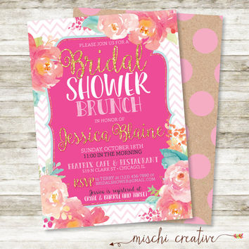 "Watercolor and Chevrons Floral Bridal Shower Brunch Invitation in Pinks, Corals and Aqua, 5"" x 7"""