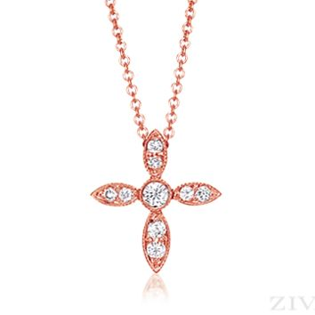 Ziva  Vintage Cross in Rose Gold