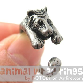 Realistic Tiger Animal Wrap Around Ring in Silver - Sizes 4 to 9 Available