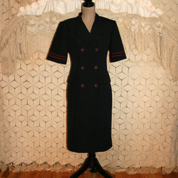 Navy Blue Sailor Dress Nautical Dress Short Sleeve Wool Red Trim Military Double Breasted Button Up Size 10/12 Medium Large Womens Clothing