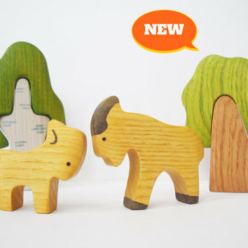 Goat and Goatling Barn Yard animals Wooden figurines Farm animal Miniature Nature table Handmade Toys for toddlers Gift idea
