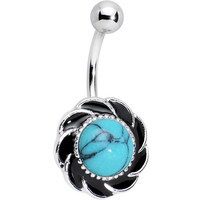 Imitation Turquoise Tribal Flower Belly Ring | Body Candy Body Jewelry