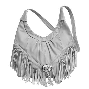 Fringed Leather Bag - Soft Genuine Leather Grey Color