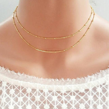Satellite choker,gold chain choker,delicate gold choker,delicate chain choker,dew drop necklace,gold necklace,dainty choker,layered choker