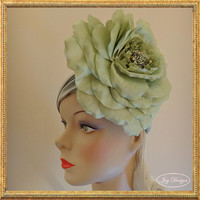 Handmade Sage Green Stretch Fabric Headwrap with a Large Silk Organza Rose Hand Beaded with Vintage (c 1950) Italian Iridescent Beads