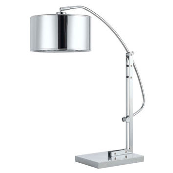 Cal Lighting BO-2325TB Houma Brushed Steel Arc Table Lamp with Chrome Shade