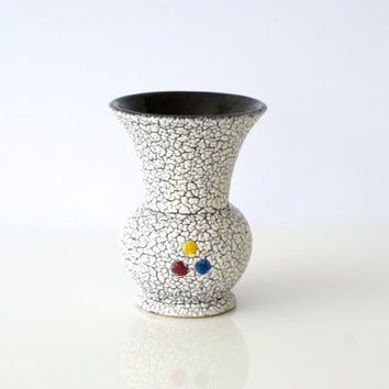 WEST GERMAN POTTERY Miniature Vase, Jopeko 503/13, Crackle Glaze, 1950s, Midcentury Modern, Black and White, Made in Germany