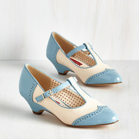 Vintage Inspired Care to Dance? Heel in Sky by Bait Footwear from ModCloth