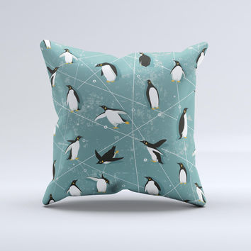 Vintage Penguin Blue Collage  Ink-Fuzed Decorative Throw Pillow