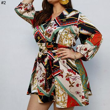 2019 new large size dress long sleeve print skirt #2