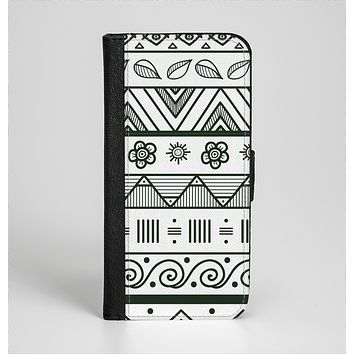 The Black & White Floral Aztec Pattern Ink-Fuzed Leather Folding Wallet Case for the iPhone 6/6s, 6/6s Plus, 5/5s and 5c