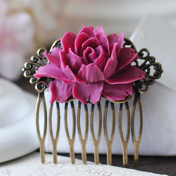 Red Violet Large Rose Flower Floral Hair Comb.  Resin Flower Cabochon Antiqued Bronze Hair Comb. Vintage Inspired  Bridal Hair accessory