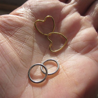 Stainless heart/round body rings nipple ring cartilage lip tragus ring belly button ring stainless steel rings piercings pierced rings