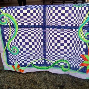 Quilted Wall Hanging Optical Illusion Alice In Wonderland Inspired Decor