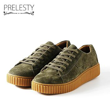 Prelesty Classic Men Casual Shoes Creepers Luxury Brand Vintage Suede Shoes Rubber Outsole Men Lace Up Spring Hip Hop Man Flats