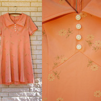 Perfectly Precious Peach Flower Dress - So Cute with it's White Buttons and Collar! Sweet!