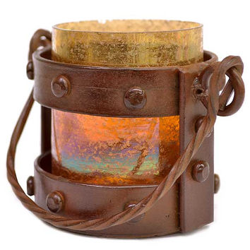 Montana Rustic and Artifact Mission Votive Candle Lantern - 4-3/4-in