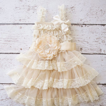 flower girl dress, lace champagne flower girl dresses, baby lace dress, toddler girls dress, girls dress, rustic girls wedding dress, shabby