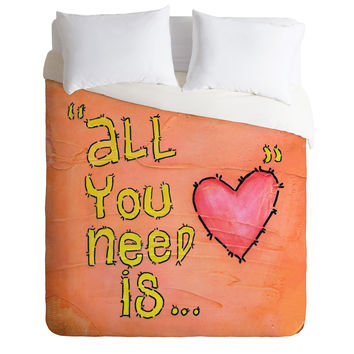 Isa Zapata All You Need Is Love Duvet Cover