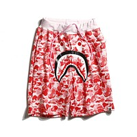 Bape Summer Tide brand camouflage shark mouth shorts loose five pants F-CP-ZDL-YXC Red