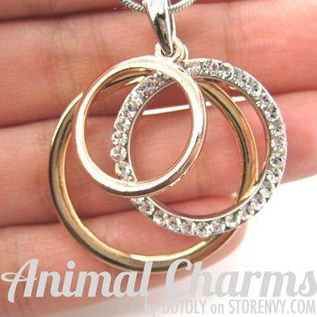 Classic Three Connected Hoop Necklace in Silver Gold and Copper