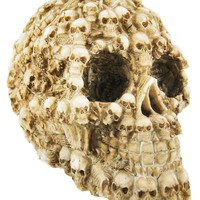 Human Skull Decorated with Skeletons and Skulls Halloween Figurine