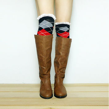 Buy 3 get 4th FREE (Mix & Match) - Over The Knee Argyle Lace Boot Socks, Polka dot socks, Women Lace Boot Socks, Knitted Socks, Leg Warmer