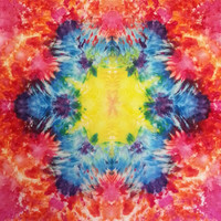 Tie dye tapestry or wall hanging in rainbow colors