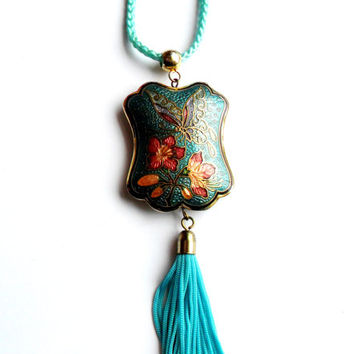 Vintage Cloisonne Enamel Tassel Pendant Necklace Double Sided Butterfly Asian Inspired Blue Cord Flower Floral Spring Easter