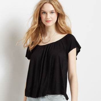 Flutter Sleeve Solid Swing Top