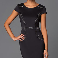 Knee Length Black Cap Sleeve Dress with Bead Detailing