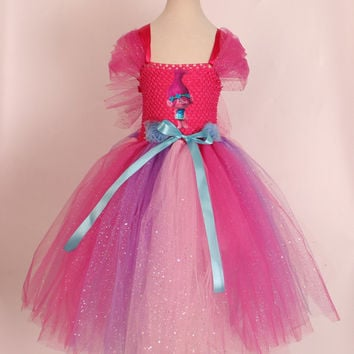 NEW Sparkly Princess Poppy Costume. Trolls Tutu Dress. Poppy Inspired Handmade Dress. Pink Trolls Dress. Poppy Tutu Dress. Fully Lined Top