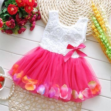 Baby Girl Clothing Infant Kids Beautiful Floral Coloured Petal Mesh Dress Baby Princess Dress Girl Bow Dress Clothes