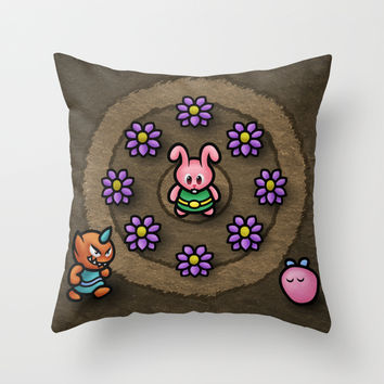 Pink Link Bunny Throw Pillow by Likelikes