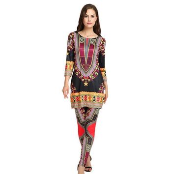 New 2 Piece Set Bodysuit Woman Dashiki Sets Fashion Printed Ladies Pants Suits For Suit Women Clothing