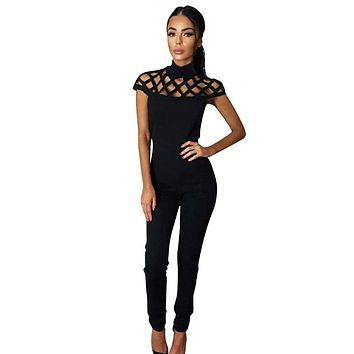Choker High Neck Caged Sleeve Play suits Long Rompers Women Jumpsuits