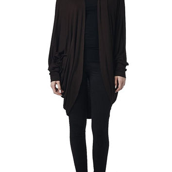82 Days Women'S Rayon Span Long Sleeves Kimono Style Loose Fit Cardigan - Solid