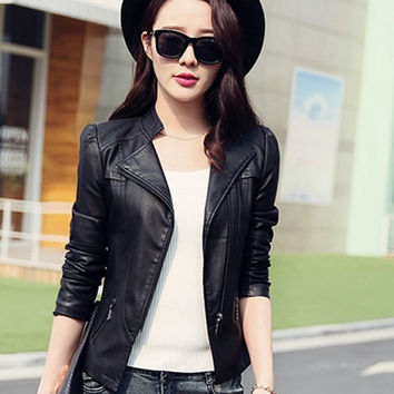 Long Sleeve PU Leather Winter Outwear Jacket