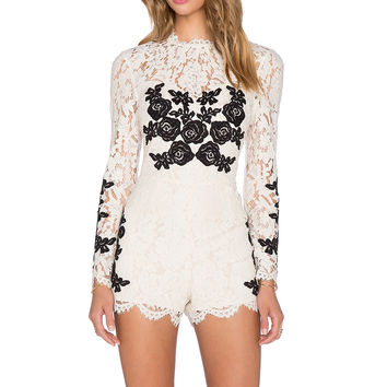 SAYLOR Hailey Romper in Cream & Black
