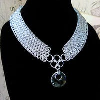 Swarovski Crystal and Silver Dragonscale Chainmaille Necklace - Silver Necklace - Adjustable Necklace
